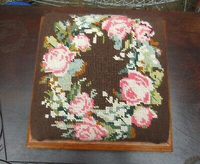 Small Victorian Style Square Oak Foot Stool~Four Bun Feet~Rose Tapestry