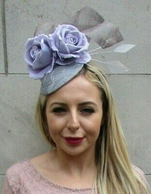 Grey Lilac Rose Flower Feather Hat Fascinator Races Hair Floral Wedding 7170