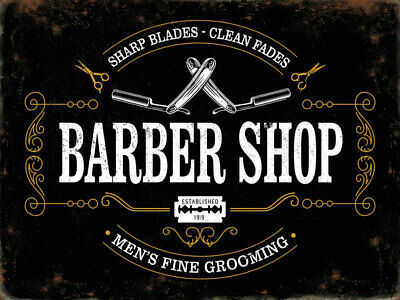 Barber Shop Sharp Blades Clean Fades Men's Grooming Small Metal/Steel Wall Sign
