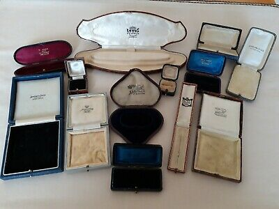 Job Lot of 13 Antique Vintage Jewellery Brooch/Ring/Necklace/Earring Boxes