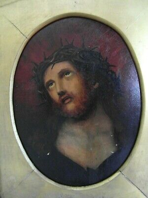 Antique religious 19th century oil painting of Christ