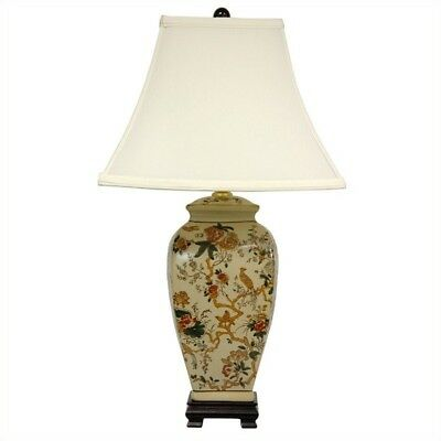 "Oriental Furniture 25"" Autumn Birds and Flowers Vase Lamp"
