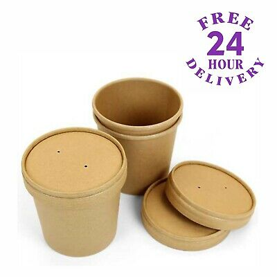 50 x 16oz Kraft Disposable Paper Ice Cream Soup Containers with Heavy Duty Lids