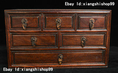 """14"""" Collection China Huanghuali Wood handcrafted Six Drawer Cupboard Cabinet Box"""