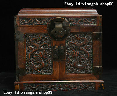 """13"""" China Huanghuali Wood handcrafted Two Dragon Statue Drawer Jewel Case Box"""