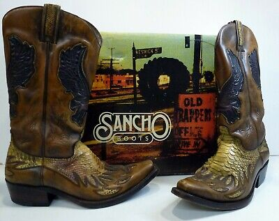 aa751f65d71 SIZE 5 SANCHO Leather Cowboy Boots - BW8236 Sahara & Chestnut Brown - Boxed