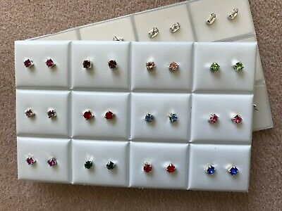 JOBLOT-12 pairs of 0.5cm 8+ different colours diamante stud earrings.UK made.