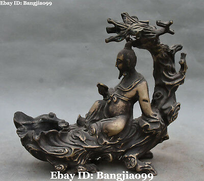 """9"""" Collect Chinese Old Silver Ancient Tree Man People Ashtray Ash Tray Statue"""