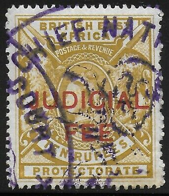 British East Africa | BEA | KUT 1897 QV Judicial Fee Revenue 10R Bistre VF Used