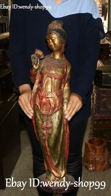 """27"""" China Old Wood Painting Carving Stand Ancient Palace Belle Beauty Sculpture"""