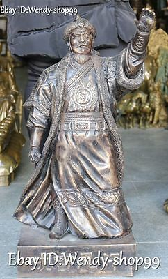 "25"" China Bronze Mongolia Emperor Genghis Khan Chinggis Khaan Dschinghis Khan"