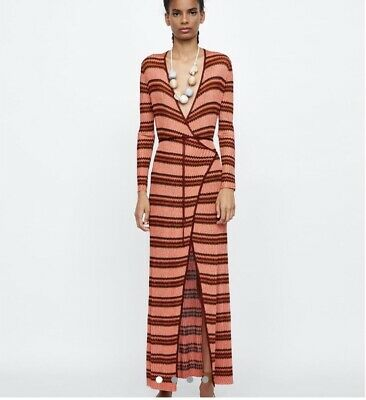 727fec280 Zara Metallic Thread Shimmer Wrap Maxi Dress Size S Uk Celebrities Fav
