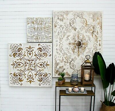 White Mosaic Gold Etched Oil Painting 45cm Framed Moroccan Boho Wall Art Canvas