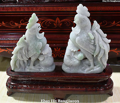 "12"" China Top Natural Ice Emerald Jadeite Jade Rooster Chicken Chook Pair Statue"