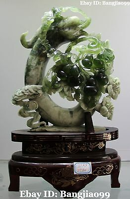 "15"" Rare Chinese Natural Green Jade Carving Auspicione Gourd Dragon Hook Statue"