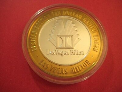 "Limited Edition 10 Dollar Gaming Token-Las Vegas Hilton - ""H"" - .999 Fine Silver"