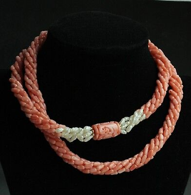 Vintage Chinese Large Carved Coral Focal Bead  Coral Pearl  Rope Necklace 78.6g
