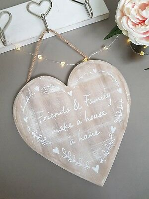 Shabby Chic Wooden Heart Plaque Sign With White Friends & Family Home Text