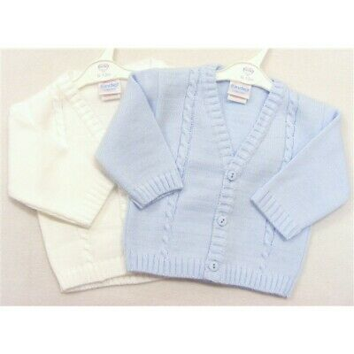 New Boys Knitted Kinder Cable Cardigan Pram Coat 0 - 24 M Baby Blue White Ivory