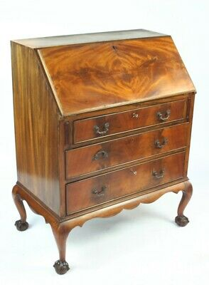 Antique Queen Anne Style Walnut Bureau Writing Desk - FREE Shipping [5086]