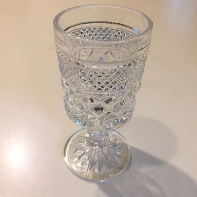 """Vintage Anchor Hocking Wexford Glass Clear Footed Water Wine Juice Goblet 5 1/2"""""""