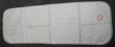 Stamped Linen Embroidery Craft Unfinished Dresser Scarf Butterflies & Flowers
