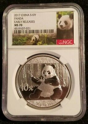 2017 China Silver 10 Yuan Panda NGC Early Releases MS70