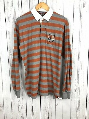 0e6182b4 Psycho Bunny Mens Rust Orange Striped Long Sleeve Slim Fit Rugby Polo Shirt  XL