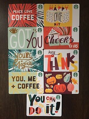 "Canada Series Starbucks ""RECYCLABLE CARD 2018 SET"" (9) Gift Cards -New No Value"