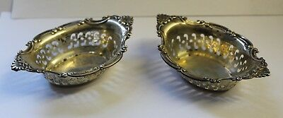 "Vintage Gorham Sterling Pair of Pierced Nut Cups ""Cromwell"" Pattern"