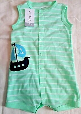 205a866cc Infant Carter's Romper Size 12 mths Ship Green & White Striped Sailboat