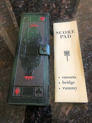Vintage Playing Card Double Deck Holder / Vintage Playing Cards / Score Pad