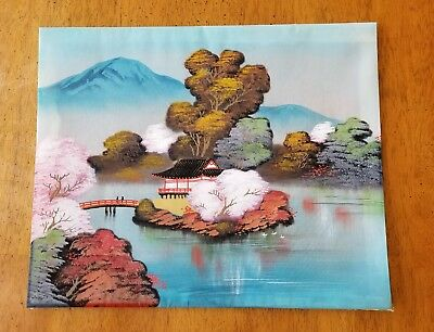 Vintage Signed Japanese Woodblock Print Original Unknown Artist Pagoda Water