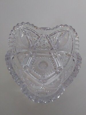Vintage IMPERIAL GLASS Candy Dish, Nappy w/ Cut Sawtooth Edge, Blue Iridescense