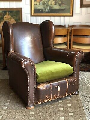 Vintage French Brown Studded Leather Wingback Club Armchair