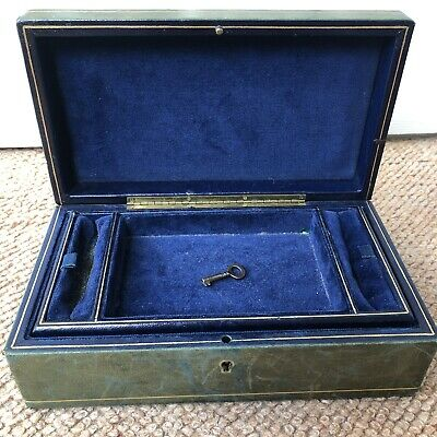 Antique Leather Jewellery Box With A Key
