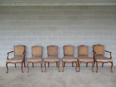 KINDEL French Louis XV Style Cane Back Set of 6 Dining Chairs
