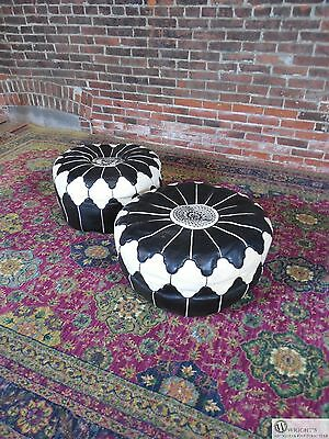 Vintage Pair Moroccan Taj Trellis Design Leather Ottomans circa 1980