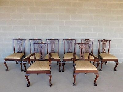 Potthast Bros Chippendale Style Mahogany Ball & Claw Foot Set of 8 Dining Chairs