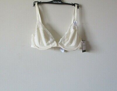 96ca7fdcde CALVIN KLEIN MODERN Signature Bare Unlined Bra F3779 Lace Trim Ivory ...