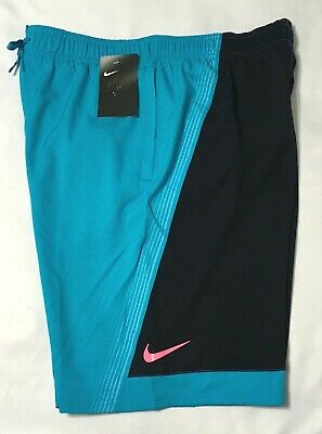 """Nike 9"""" Volley Men's Swim Shorts NESS 8438 Turquoise & Navy M  L XL 2XL NWT"""