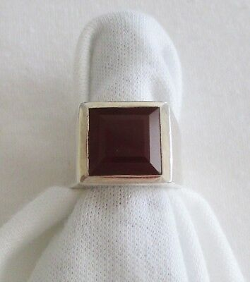 925 Silver Unisex Wide Band Ring with Square Shape Ruby.  Ladies Size 8.  NWOT