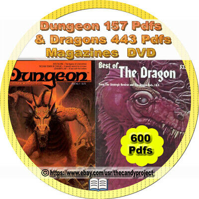 443 Pdfs Dragon & 150 Pdfs Dungeons Magazines Computer Game Vintage 3 DVD