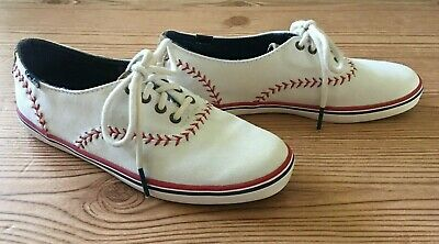 5817336c895 Keds White Canvas Sneakers Red Baseball Stitch Design Shoes Womens Sz 5