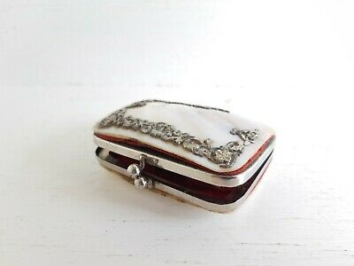 Antique Victorian Silver Mother of Pearl Shell Clutch Carry Purse Card Case
