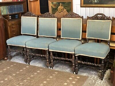 3 Victorian Carolean Revival Carved Oak Side Dining Chairs Plus Other