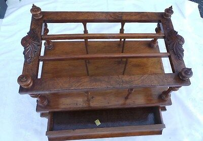 ANTIQUE early VICTORIAN MAHOGANY AUTHENTIC MAGAZINE NEWSPAPER HOLDER RACK