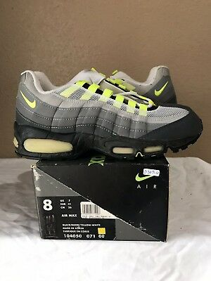 4ce022960c DS 1995 Nike Air Max 95 OG Original Size 8 Black Neon Yellow White 96 98