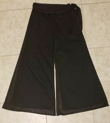 JBS Womens Pants Black Large Mesh Wide Palazzo Layered Sheer Wide