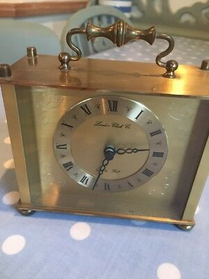 Fully Working BRASS QUARTZ CARRIAGE LONDON CLOCK CO BELL TIME MANTLE TIME